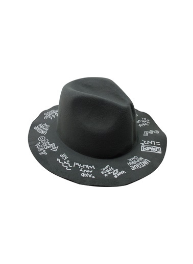 Laslusa İçten Ayarlanabilir Üstü Yazılı Keçe Fötr Şapka Gri